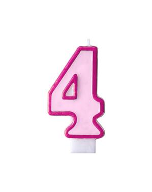 Roze nummer 4 verjaardagskaars