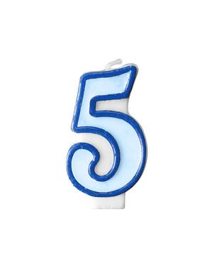 Blauwe nummer 5 verjaardagskaars