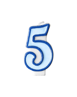 Number 5 birthday candle in blue