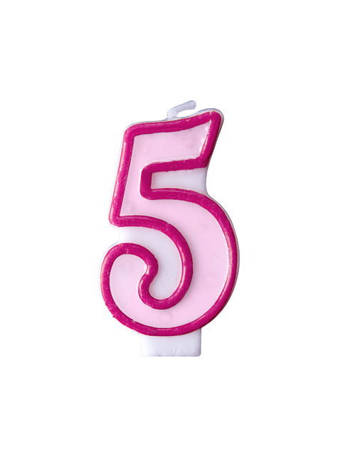 Vela de aniversário cor-de-rosa número 5