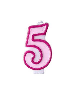 Roze nummer 5 verjaardagskaars