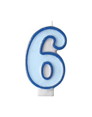 Number 6 birthday candle in blue