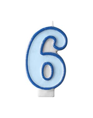 Numero 6 syntymäpäiväkynttilä sinisenä