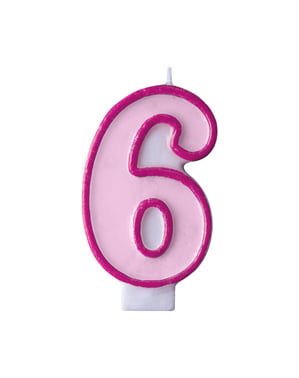 Number 6 birthday candle in pink