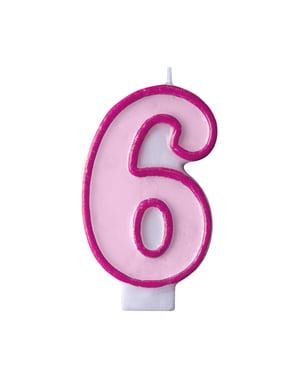 Roze nummer 6 verjaardagskaars