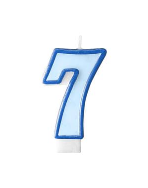 Blauwe nummer 7 verjaardagskaars