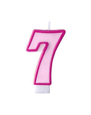 Roze nummer 7 verjaardagskaars