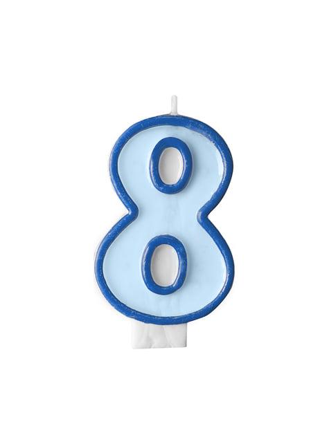 Modrá svíčka na narozeninový dort číslo 8