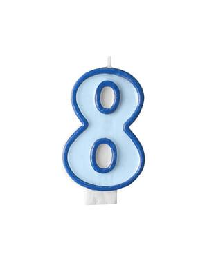 Vela de cumpleaños azul número 8