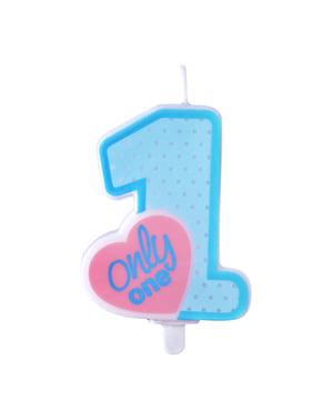 """""""Samo jedan"""" rođendan svijeća u plavom - Blue 1. rođendan"""