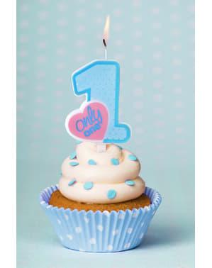 Niebieska świeczka urodzinowa