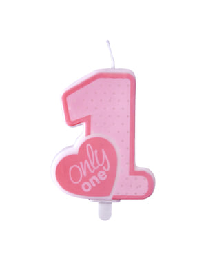 """""""Samo jedan"""" rođendan svijeća u ružičastom - Pink 1. rođendan"""