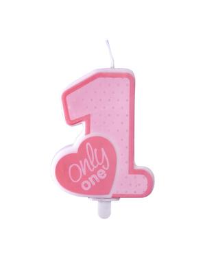 """ピンクの """"Only One""""バースデーキャンドル - ピンクの1歳の誕生日"""