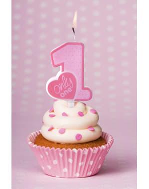 Różowa świeczka urodzinowa