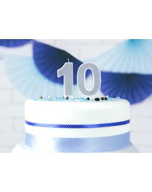 Vela de cumpleaños plateada número 0