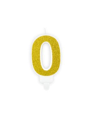 Nummer 0 verjaardagskaars in het goud