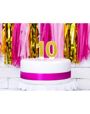 Złota świeczka urodzinowa Cyfra 0