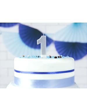 Numero 1 syntymäpäiväkynttilä hopeisena