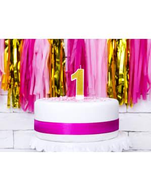 Bougie anniversaire dorée chiffre 1