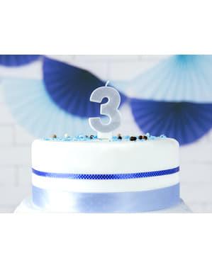Vela de cumpleaños plateada número 3
