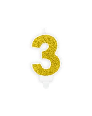 Nummer 3 verjaardagskaars in het goud
