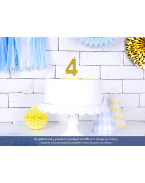 Vela de cumpleaños dorada número 3