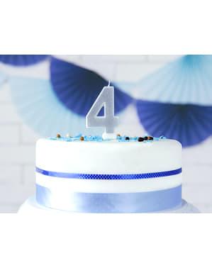 Numero 4 syntymäpäiväkynttilä hopeisena