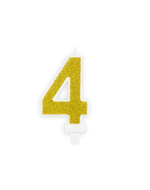 Numero 4 syntymäpäiväkynttilä kultaisena