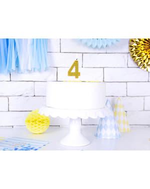 Bougie anniversaire dorée chiffre 4