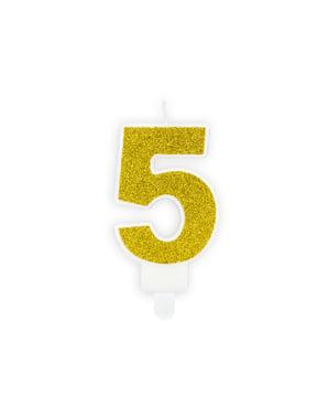 Nummer 5 verjaardagskaars in het goud