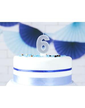 Numero 6 syntymäpäiväkynttilä hopeisena