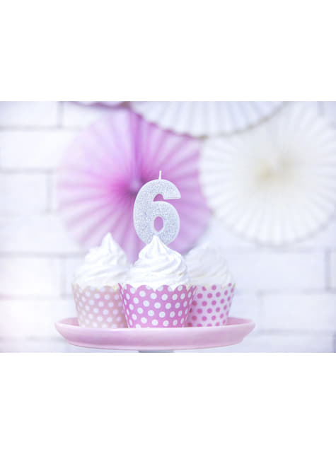 Number 6 birthday candle in silver