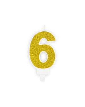 Numero 6 syntymäpäiväkynttilä kultaisena