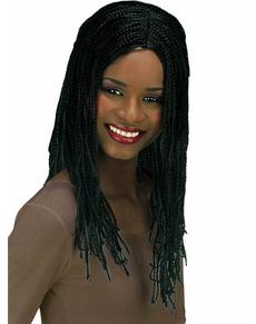 Gevlochten zwarte jamaicaanse pruik