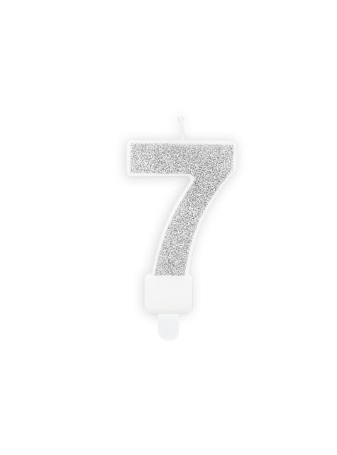 Vela de cumpleaños plateada número 7