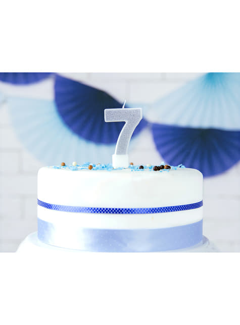 Number 7 birthday candle in silver