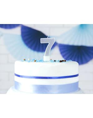 Nummer 7 verjaardagskaars in het zilver