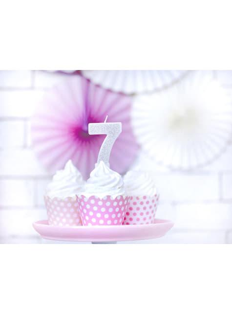 Vela de cumpleaños plateada número 7 - barato