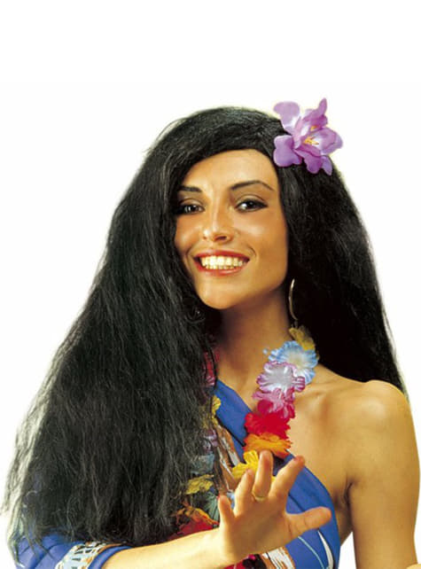 Svart Hawaii Parykk med Orkide
