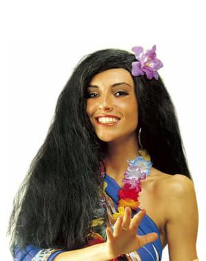 Peruca havaiana preta com orquídea