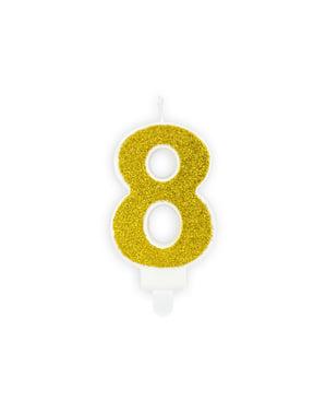 Vela de cumpleaños dorada número 8