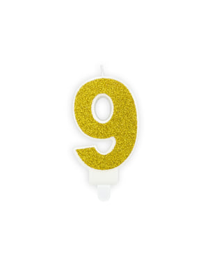 Vela de cumpleaños dorada número 9
