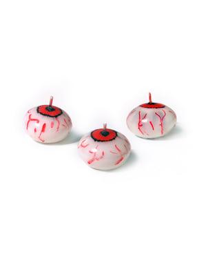 25 bougies flottantes en forme d'œil (4 cm) - Halloween