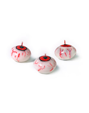 25 lumânări plutitoare cu formă de ochi (4 cm) - Halloween