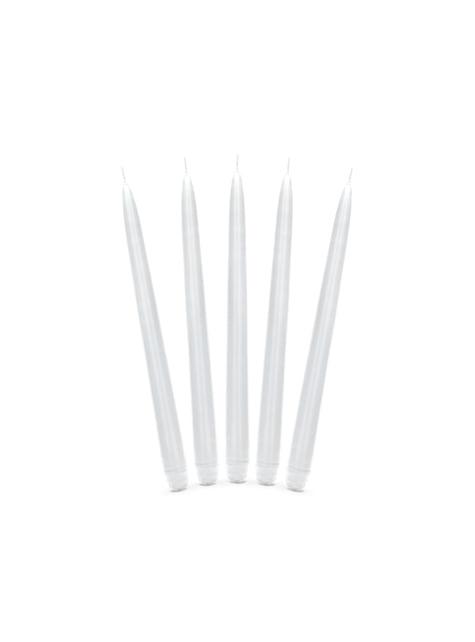 10 valkoista suippokynttilää, 29cm