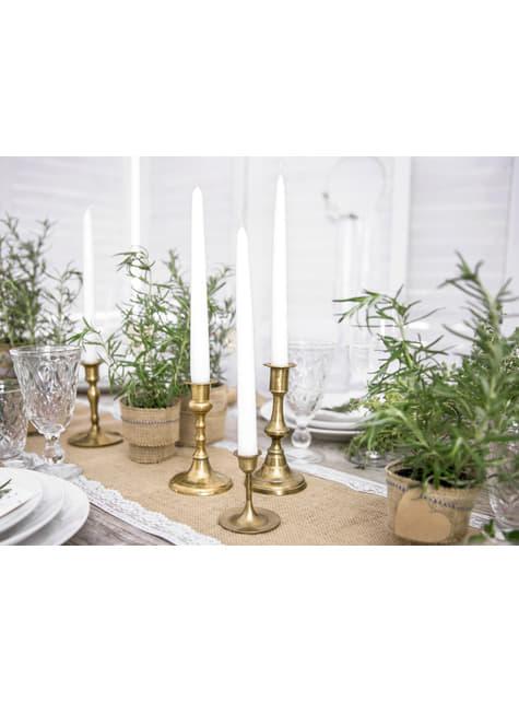 10 bougies blanches de 29 cm