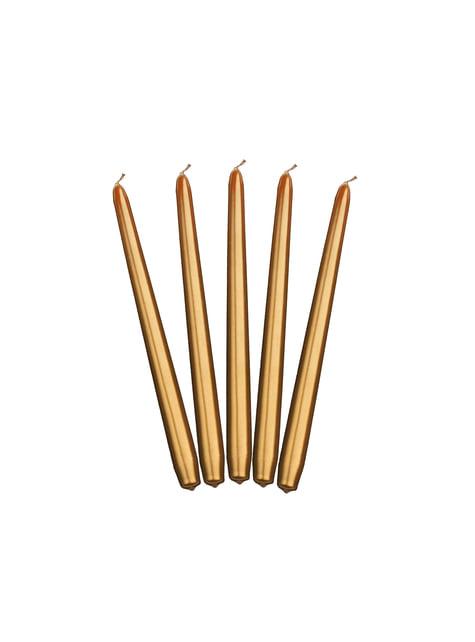 10 bougies dorées de 29 cm