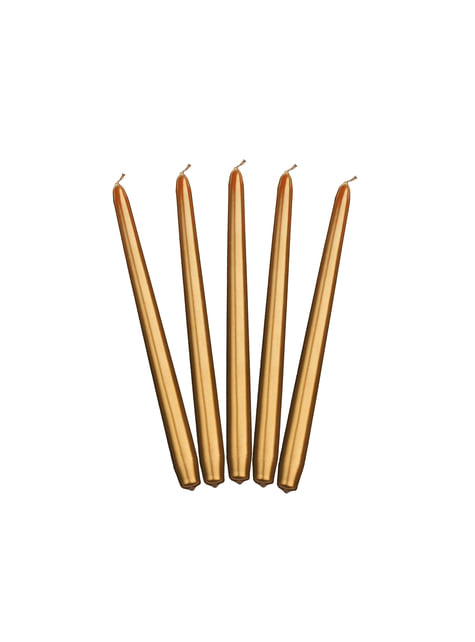10 kultaista suippukynttilää, 29cm