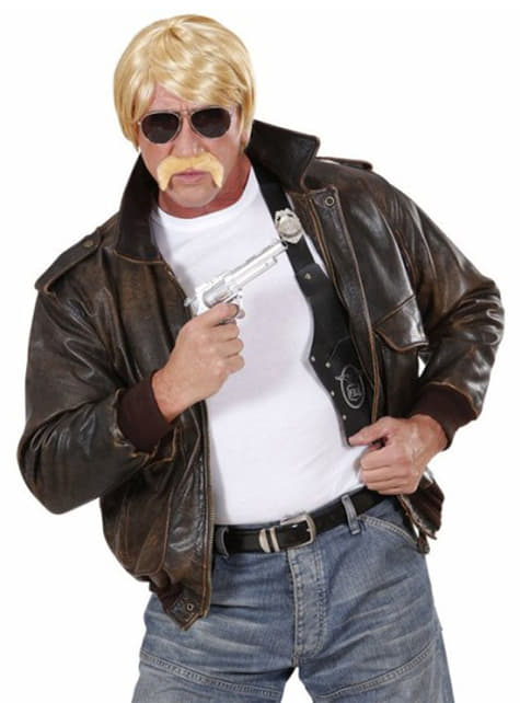 Blonde pruik Hutch met snor en bril