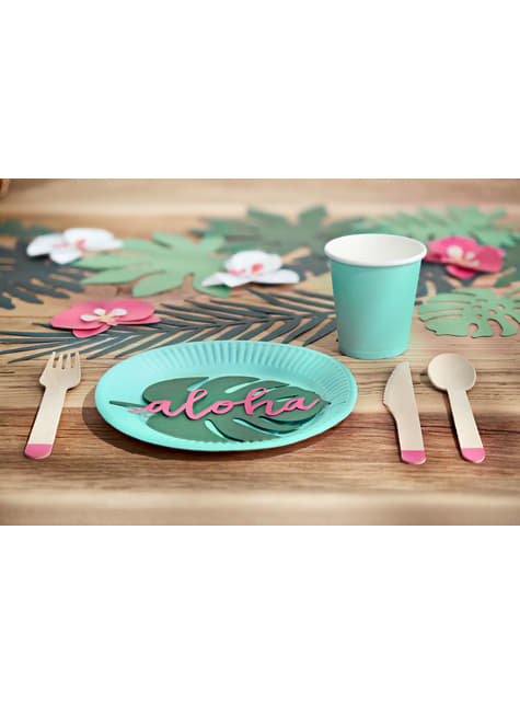 18 cubiertos rosas de madera (16cm) - Aloha Turquoise - barato